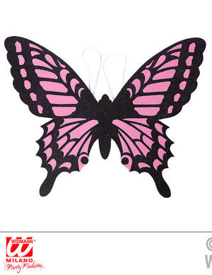 Black Pink Butterfly Wings Inscet Fairy Tale Fancy Dress Accessory Adult