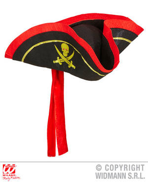 Black Tricorn Pirate Hat Pirates Buccaneer Halloween Fancy Dress Accessory