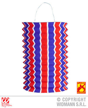 Blue White Red Striped Lantern Carnival Party Decoration Accessory 28Cm