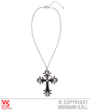Black Cross Necklace Pirate Witch Halloween Fancy Dress Costume Jewellery