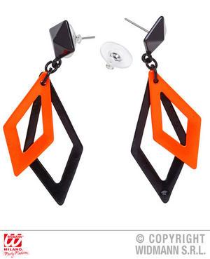 Black Neon Orange Rhombus Earrings 1980S Rave Fancy Dress Jewellery Accessory