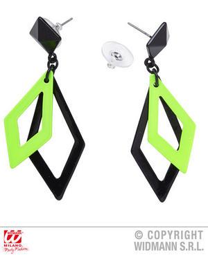 Black Neon Green Rhombus Earrings 1980S Rave Fancy Dress Jewellery Accessory