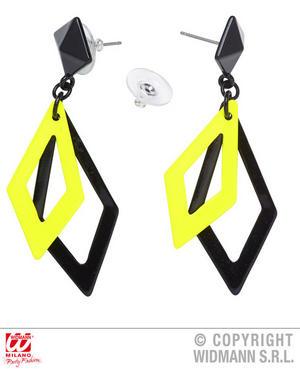 Black Neon Yellow Rhombus Earrings 1980S Rave Fancy Dress Jewellery Accessory