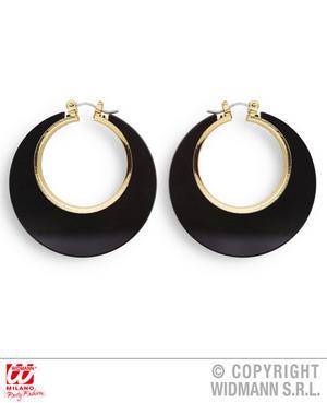 Black & Gold Disco Earrings 1970S Diva Fancy Dress Jewellery Accessory Adult