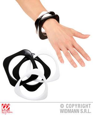 Black & White Disco Bracelets X 4 Diva 70S Fancy Dress Jewellery Accessory Adult