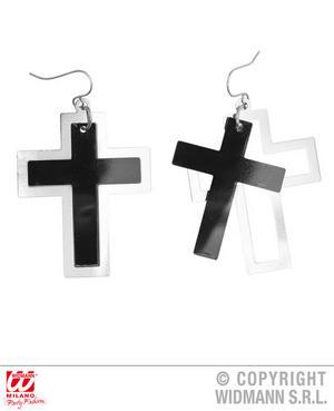 Black & Silver Cross Earrings Gothic Nun Fancy Dress Jewellery Accessory