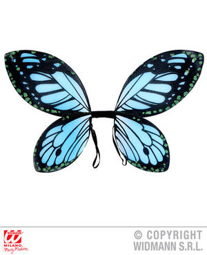 Childs Black Blue Butterfly Wings Insect Fairy Tale Fancy Dress Accessory