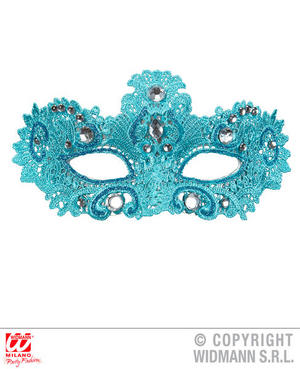 Azure Noblesse Eyemask With Gems Venetian Masquerade Ball Fancy Dress Accessory