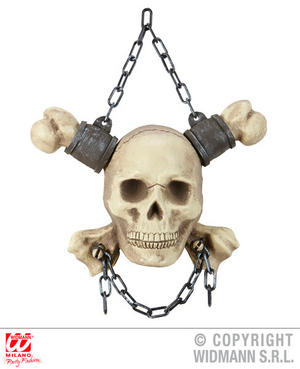 Chained Skull & Crossbones Halloween Fancy Dress Party Decoration Prop 28Cm