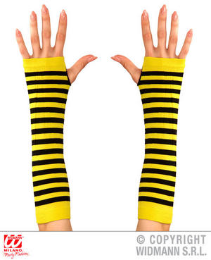 Black Yellow Bumble Bee Fingerless Gloves Wasp Insect Fancy Dress Accessory