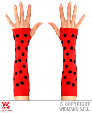 Black Red Dotty Ladybug Fingerless Gloves Ladybird Insect Fancy Dress Accessory