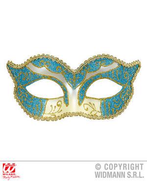 Azure Gold Duchess Eyemask Venetian Masquerade Ball Fancy Dress Accessory