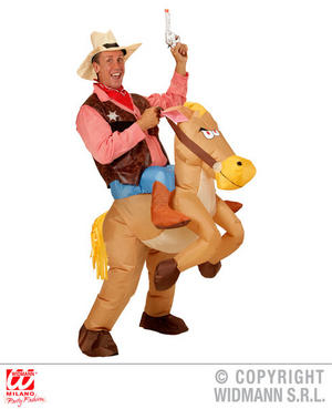 Inflatable Cowboy Fancy Dress Costume Wild West Stag Do Outfit Adult