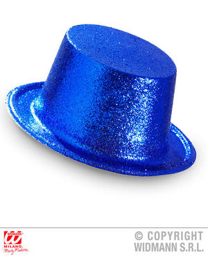 Blue Glitter Top Hat Circus Carnival Hen Do Fancy Dress Accessory