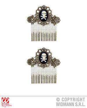 Antiquated Gold Skull & Cross Bones Hair Combs X 2 Pirate Fancy Dress Accessory