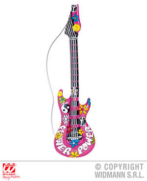 Hippie Inflatable Guitar 105 Cm 1970S Hippy Fancy Dress Costume Accessory