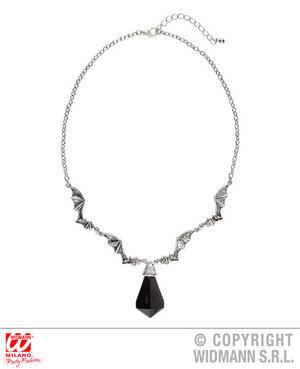Bat Necklace With Gem Vampire Witch Halloween Fancy Dress Jewellery Accessory