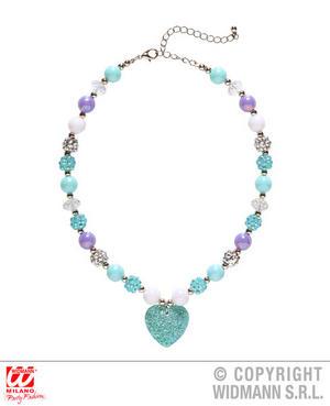Azure Glitter Heart Necklace Valentines Day Fancy Dress Jewellery Accessory