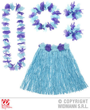 Blue Hawaiin Set Tropical Hawaii Beach Party Fancy Dress Accessory