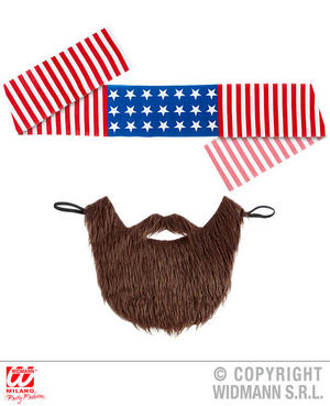 American Easy Rider Headband & Beard Hells Angel Biker Fancy Dress Accessory