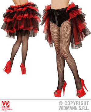 Black Red Tie On Bustle Burlesque Goth Fancy Dress Costume Outfit Accessory