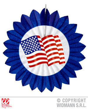 Blue Usa Paper Fan America Independence Day Fancy Dress Party Decoration 50Cm