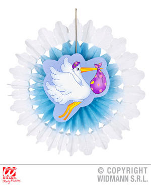 Azure Stork Paper Fan Boy Baby Shower Party Fancy Dress Decoration Prop 50Cm