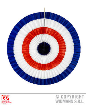 Blue White Red Paper Fan Target Bullseye Fancy Dress Party Decoration 50Cm