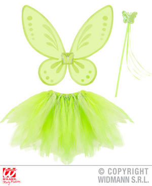 Childs Kids Green Tnk Fairy Set Pixie Princess Fancy Dress Costume Outfit