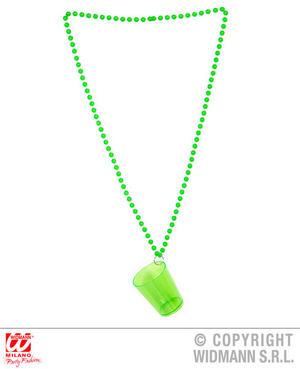 Neon Green Shot Glass Necklace Hen Do Bride 90S Disco Fancy Dress Accessory