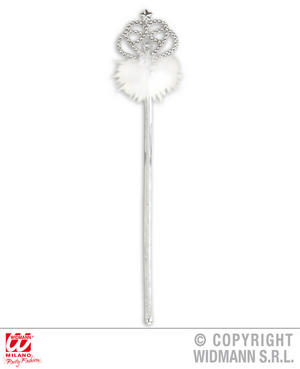 Silver Wand With White Marabou Princess Fairy Tale Fancy Dress Accessory