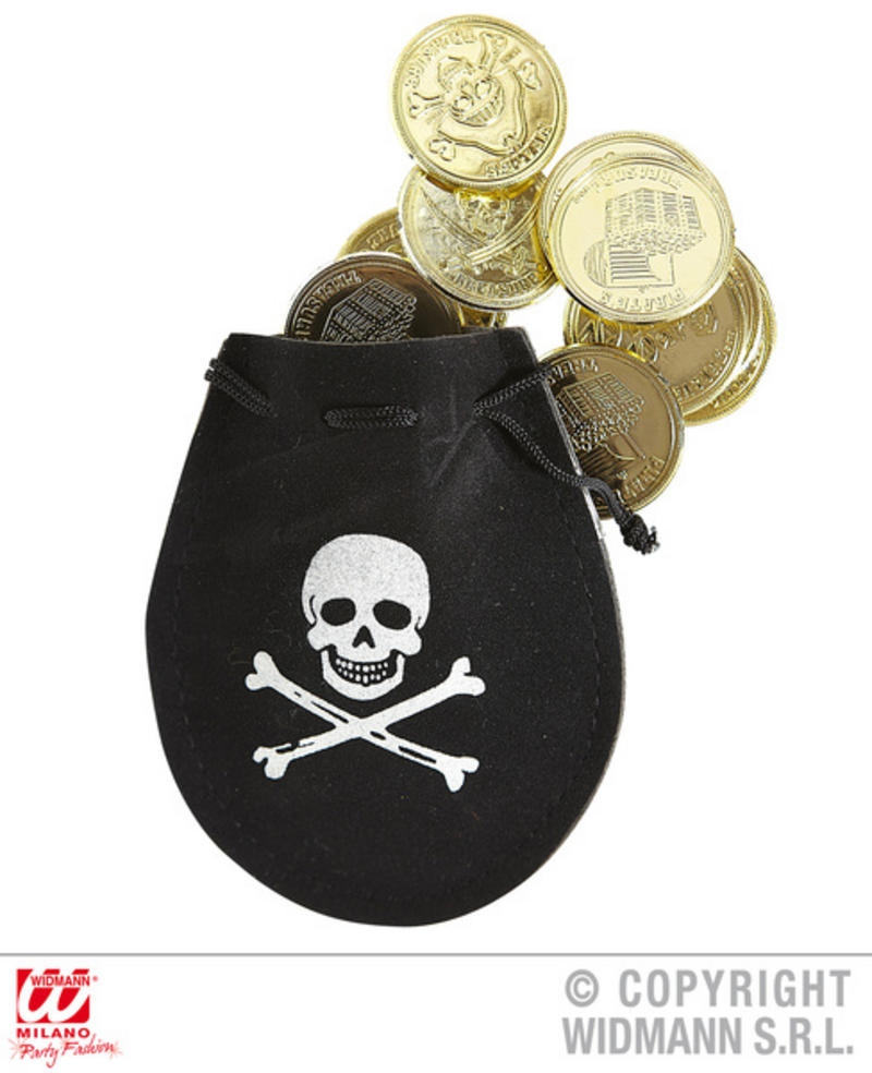 Piarte Pouch With Doubloons Pirates Coin Halloween Fancy Dress Accessory