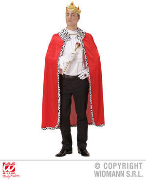 Mens King Cape & Crown Set Royal Prince Fancy Dress Costume Fairy Tale Outfit
