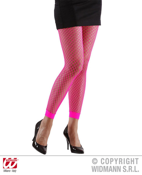 Ladies Womens Pink Fishnet Leggings 1980S 1990S Fame Fancy Dress Accessory
