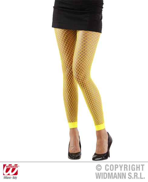 Ladies Womens Yellow Fishnet Leggings 1980S 1990S Fame Fancy Dress Accessory