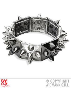 Black & Silver Studded Bracelet Punk Goth Halloween Fancy Dress Jewellery Accessory