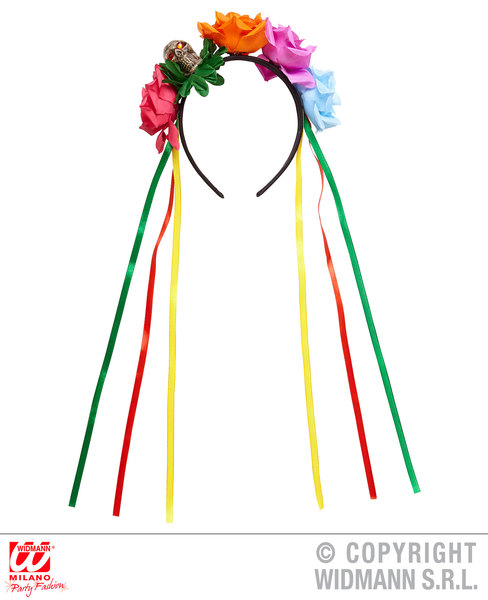 5 Ribbon Day Of The Dead Headband With Skull Detail Halloween Fancy Dress Prop