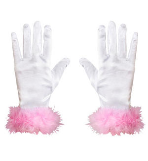 Childs White Satin Gloves With Pink Marabour Glamour Fancy Dress Accessory