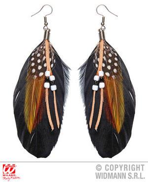Beaded Feather Earrings Apache Native Wild West Fancy Dress Jewellery Accessory