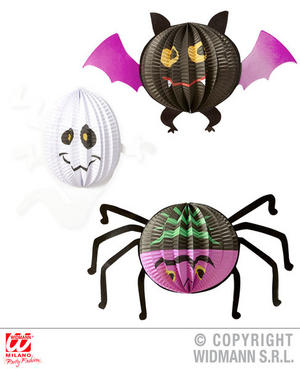 Bat Ghost & Spider Paper Balls Halloween Fancy Dress Party Decoration Prop