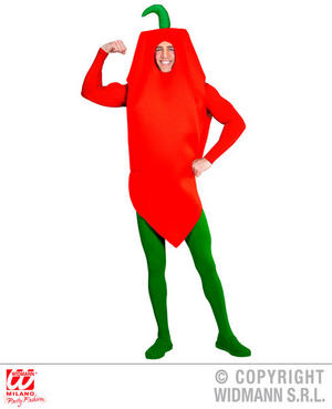Chilli Pepper Hot Food Carnival Fancy Dress Costume Mexican Outfit Adult