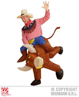 Inflatable Raging Bull Fancy Dress Costume Cowboy Stag Do Outfit Adult
