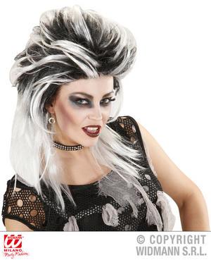 Black White Zombie Punk Wig Gothic Biker Halloween Fancy Dress Accessory