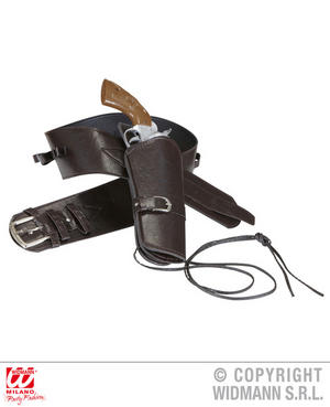 Brown Holster Belt Cowboy Wild West Fancy Dress Accessory