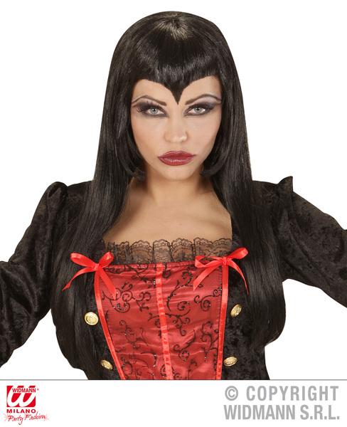 Ladies Womens Black Vampiress Wig Gothic Lady Halloween Fancy Dress Accessory