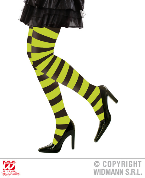 Ladies Green Black Striped Tights Witch Halloween Fancy Dress Accessory