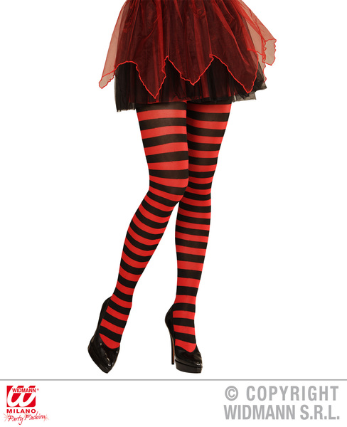 Ladies Womens Red Black Striped Tights Witch Halloween Fancy Dress Accessory