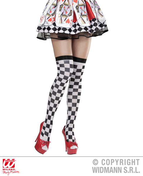 Ladies Womens Chequered Over Knee Socks Wonderland Fancy Dress Accessory