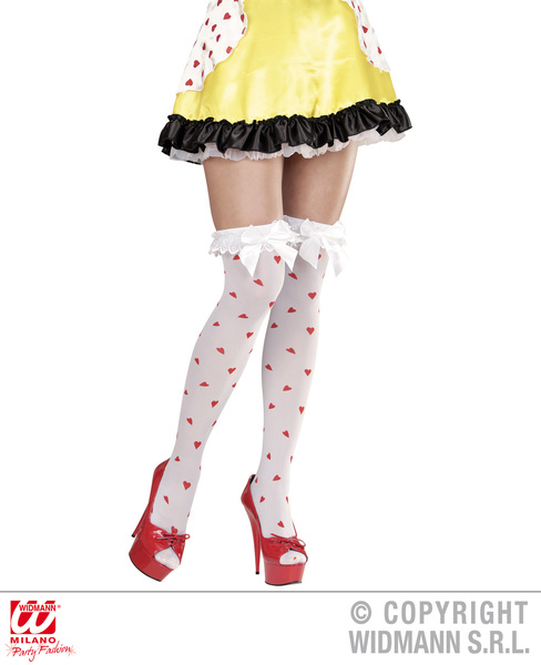 Ladies Womens Queen Of Haearts Over Knee Socks Wonderland Fancy Dress Accessory