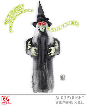 Animated Shaking Talking Witch Decoration Halloween Fancy Dress Party Prop 60Cm